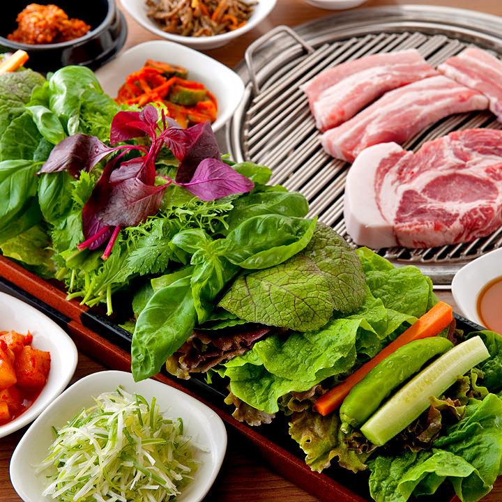 赤坂田町通りにあるサムギョプサルと新鮮野菜が楽しめる「やさい村大地 赤坂田町通り店」の「サンパセット」の画像